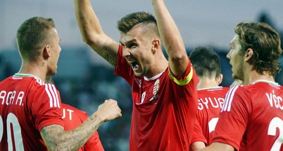 Priskin Tamás ünnepel a Magyarország-Kazahsztán barátságos mérkőzésen (Forrás: MTI / Beliczay László)